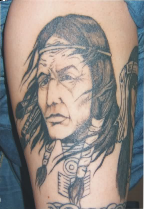 Indian Warrior Face Tattoo On Biceps