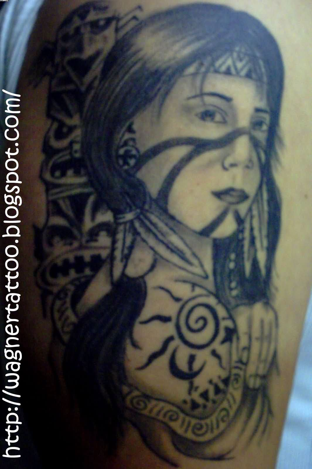 Indian Warrior Portrait Tattoo