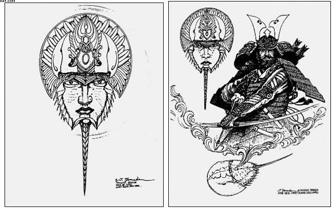 Japanese Mythology Warrior Tattoo Designs