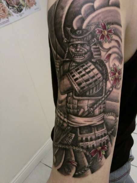 Japanese Samurai Warrior Half Sleeve Tattoo