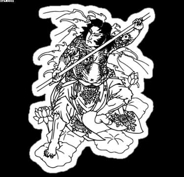 Japanese Warrior Tattoo Sticker