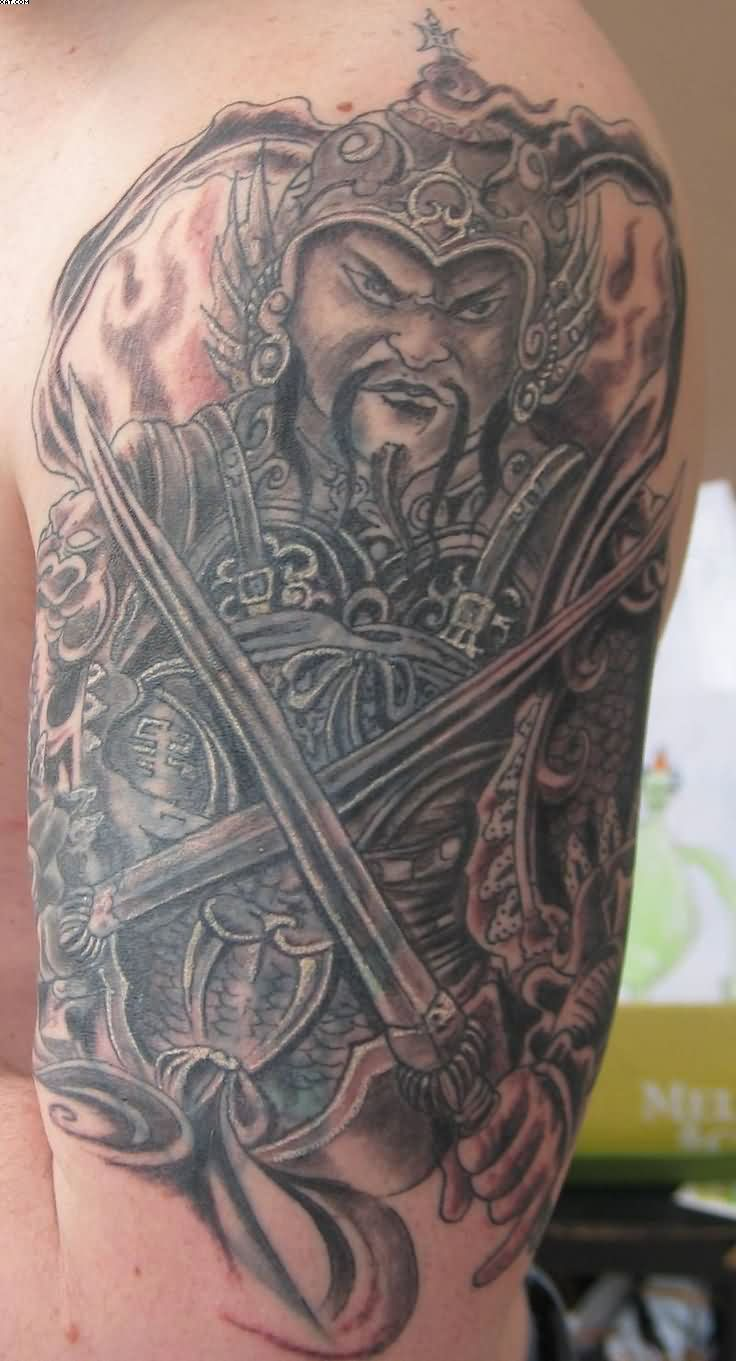 Japanese Warrior With Swords Tattoo On Biceps