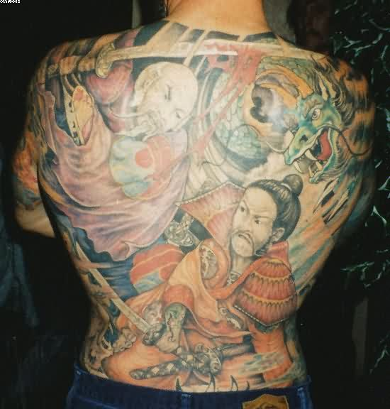 Japanese Warriors Battle And Dragon Tattoos