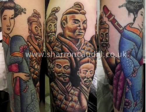 Japanese Warriors Sleeve Tattoos