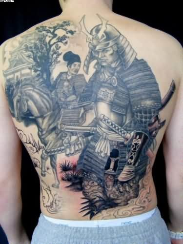 Japanese Warriors Temple Tattoos For Back