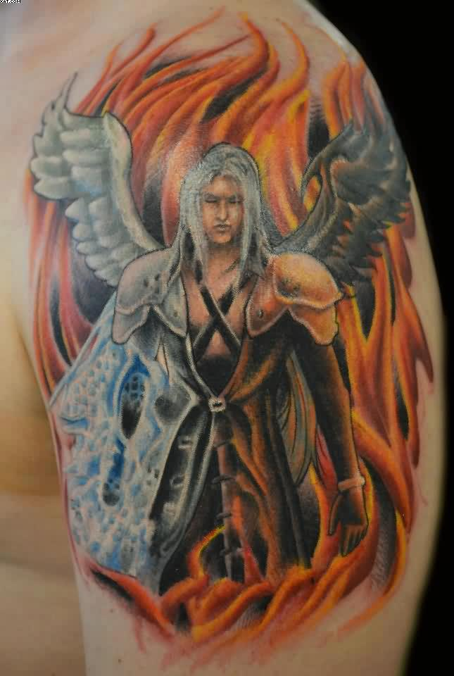 Lady Angel Warrior Tattoo On Shoulder