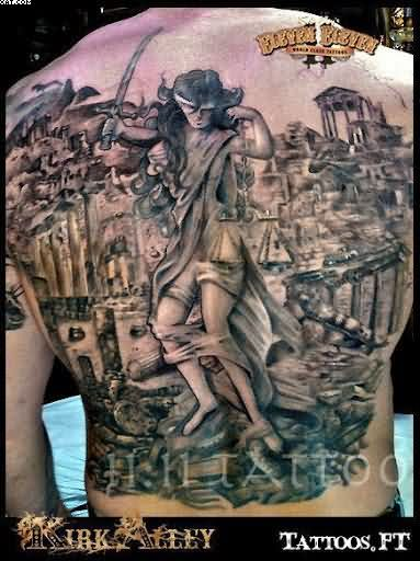 Lady Warrior And City Buildings Tattoos On Full Back