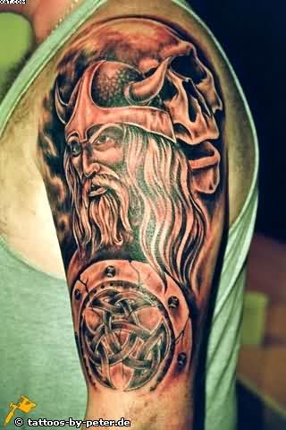 Left Half Sleeve Viking Warrior Tattoo For Men