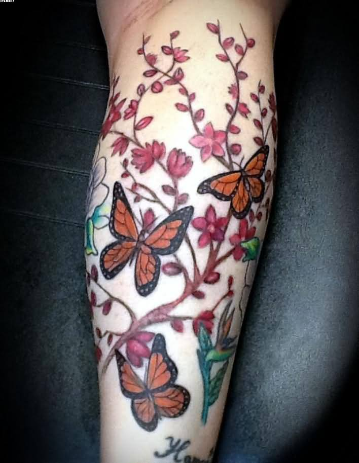 Lovely Butterflies And Vine Tattoos On Leg
