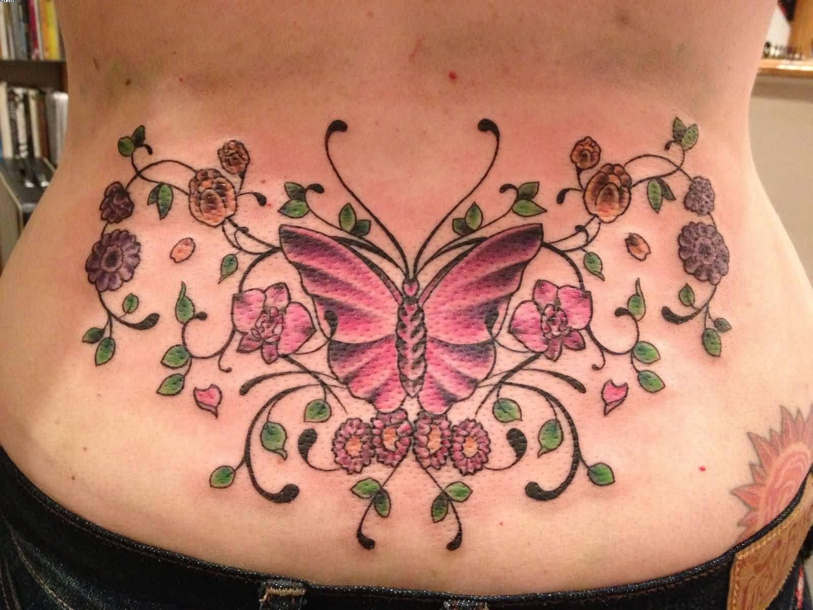 Lovely Butterfly And Flowers Tattoos On Waist