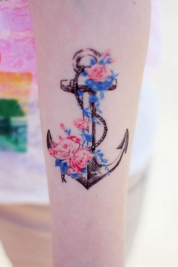 Lovely Flowers Vine Anchor Tattoo