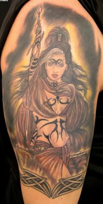 Lovely Warrior Girl Tattoo For Your Arm