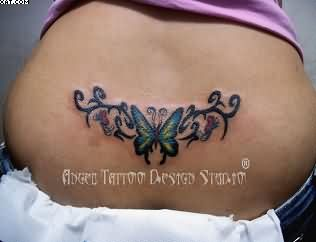 Lower Back Waist Butterfly Flower Tattoos