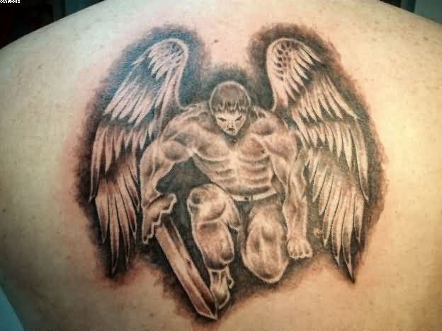 Male Angel Warrior Tattoo For Upper Back