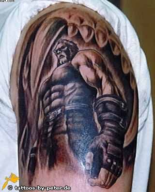 Muscular Warrior Tattoo On Shoulder For Men
