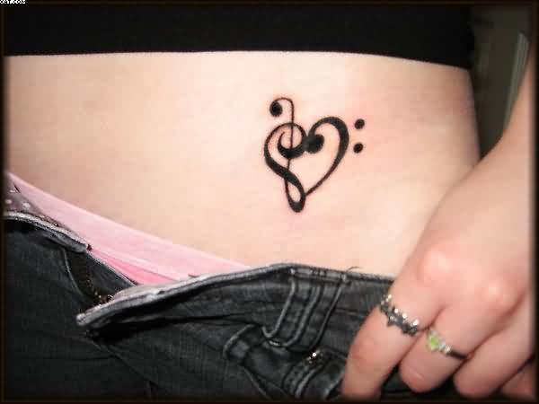 Musical Heart Tattoo For Waist