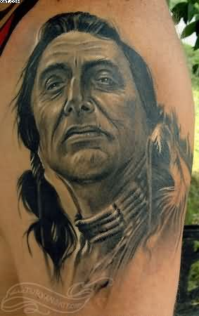 Native American Warrior Portrait Tattoo On Shoulder