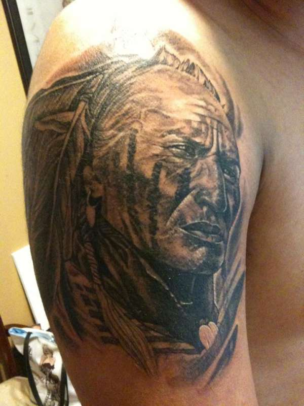 Native American Warrior Tattoo On Right Shoulder