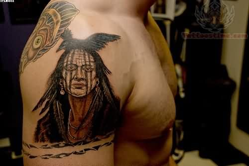Native American Warriors Tattoo For Shoulder
