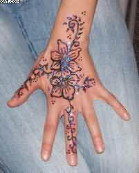 New Henna Vine Tattoo On Hand For Girls