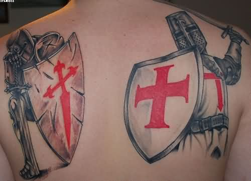 Nice Ancient Warriors Tattoos For Back