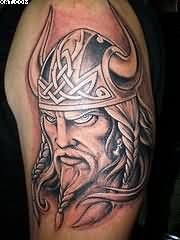Nice Celtic Viking Warrior Tattoo For Biceps