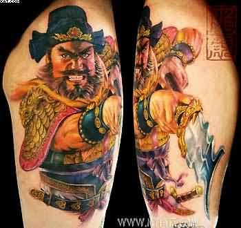Old Chinese Warrior Sleeve Tattoos