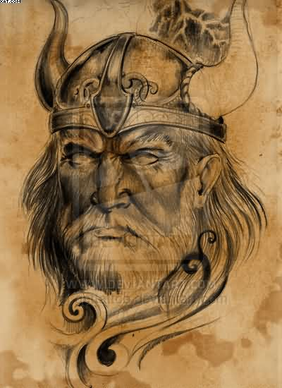 Old Viking Warrior Tattoo Design