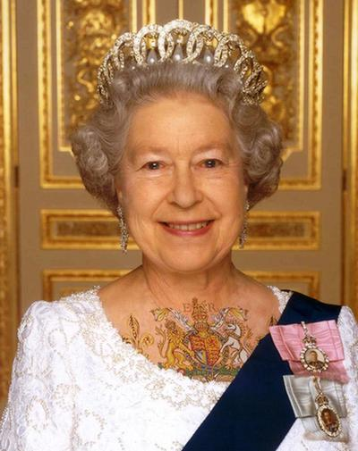 Queen Elizabeth Western Tattoo On Chest