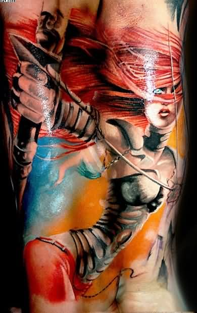 Realism Color Female Warrior Tattoo