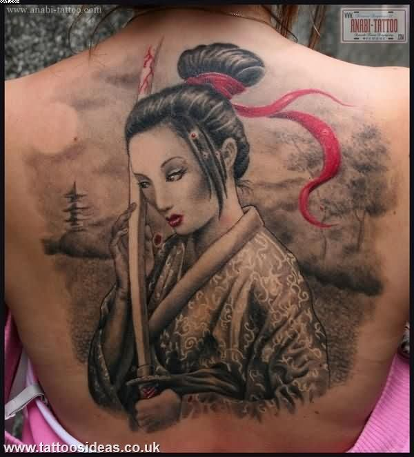 Realism Japanese Warrior Lady Tattoo On Back