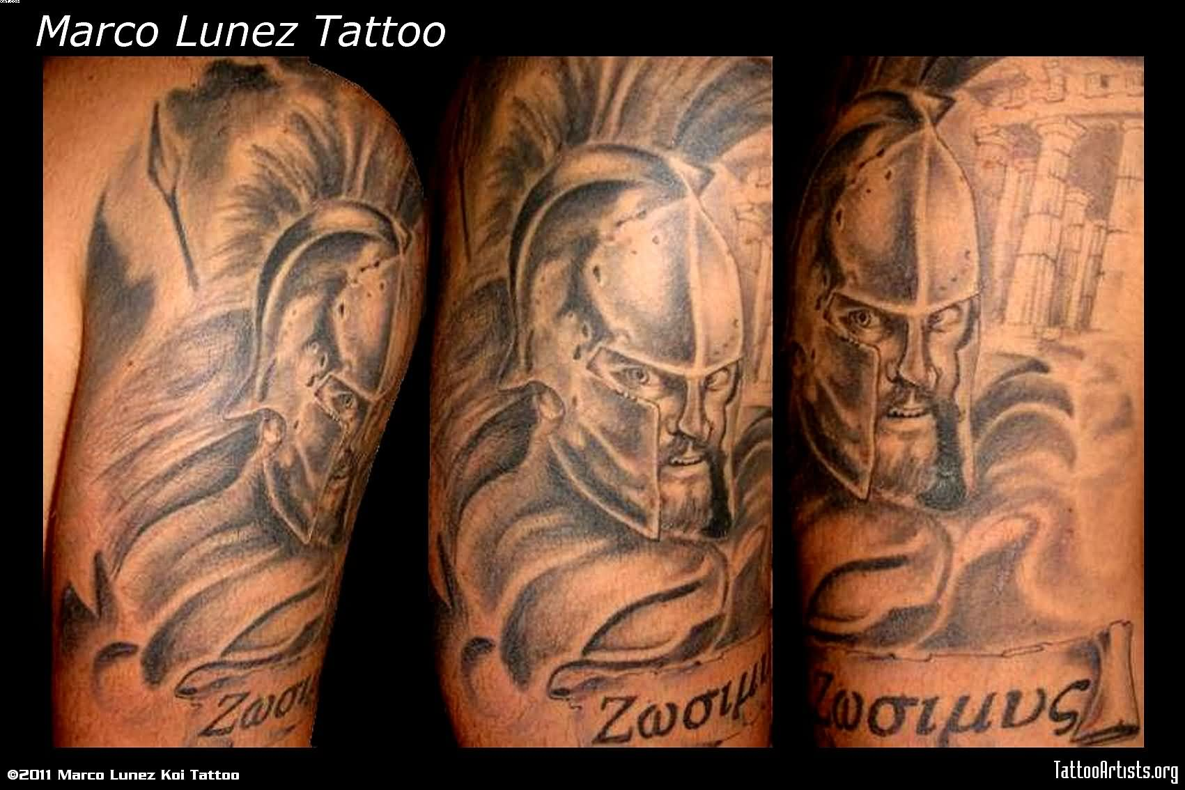 Realism Spartan Warrior Half Sleeve Tattoos