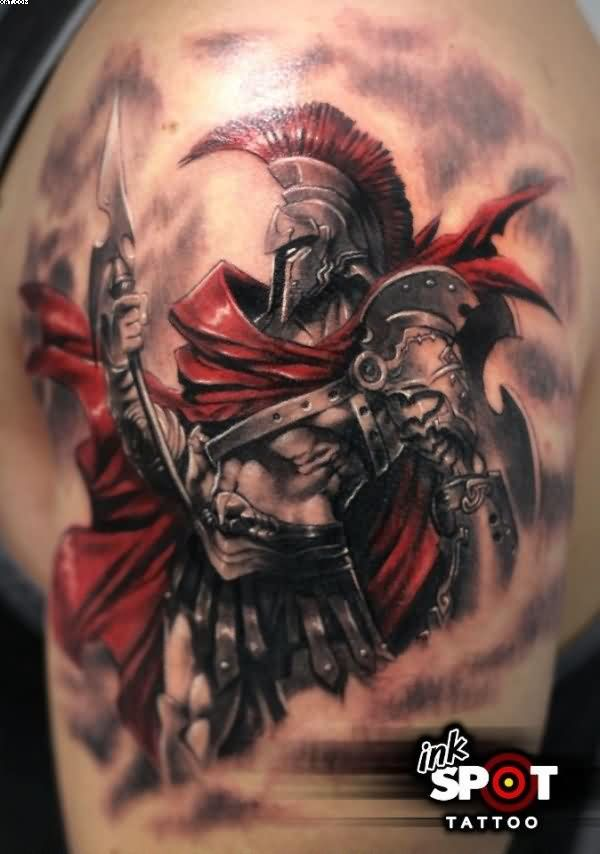 Realism Spartan Warrior Tattoo For Shoulder