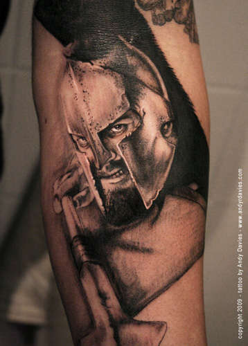 Realism Spartan Warrior Tattoo