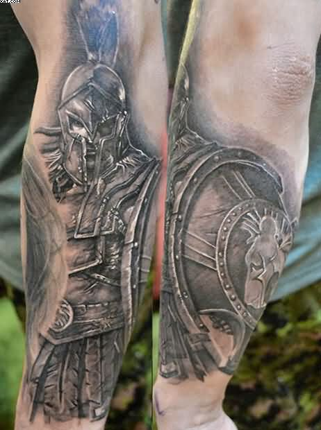 Realism Warrior Sleeve Tattoos
