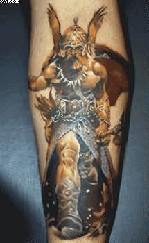 Realism Warrior Tattoo For Arm