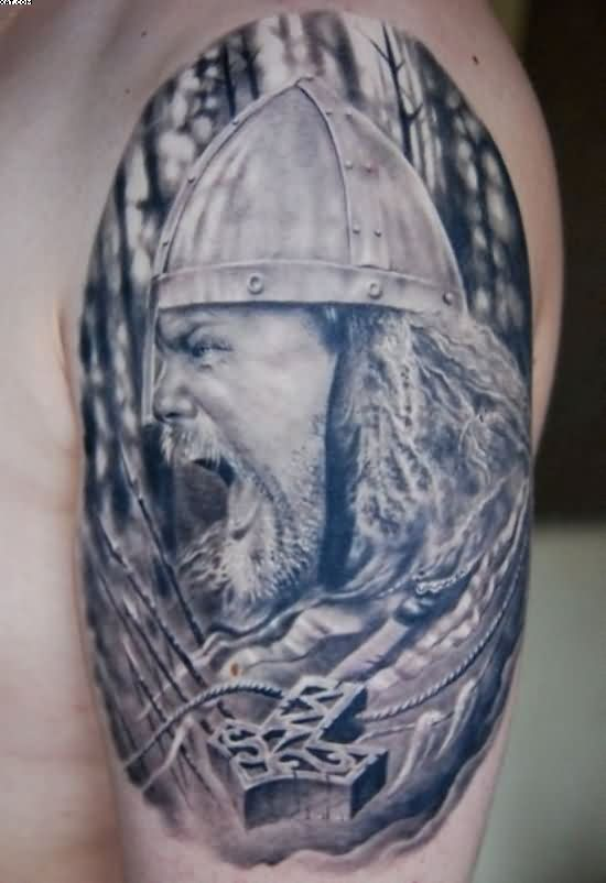 Realistic Angry Warrior Tattoo For Shoulder