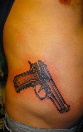 Realistic Gun Waist Tattoo For Men