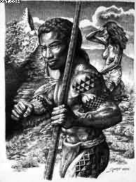Realistic Hawaiian Warrior Tattoo Picture