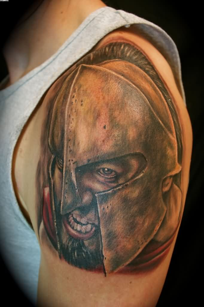 Realistic Spartan Warrior Greek Tattoo On Shoulder