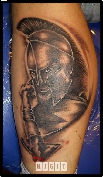Realistic Spartan Warrior Tattoo