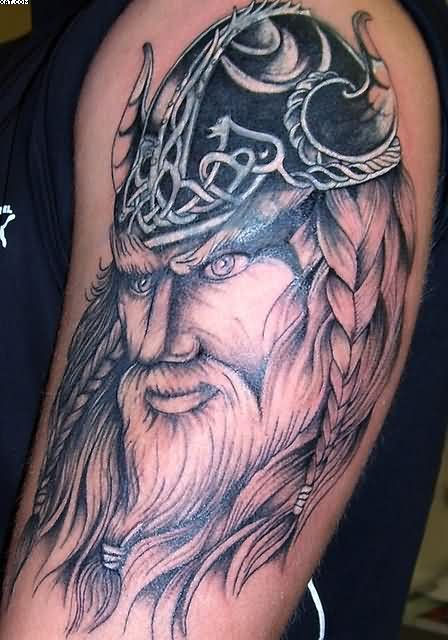 Realistic Viking Warrior With Helmet Tattoo