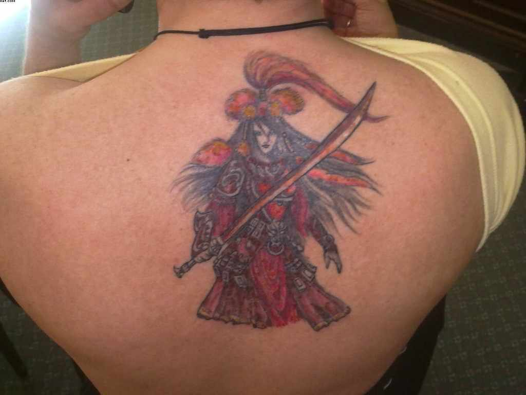 Red Ink Angel Warrior Tattoo On Upper Back