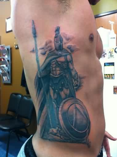 Rib Side Spartan Warrior Tattoo For Men