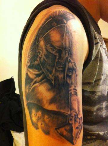 Right Half Sleeve Greek Warrior Tattoo For Men
