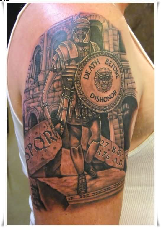Roman Warrior Half Sleeve Tattoo
