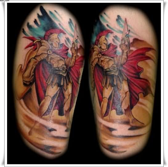 Roman Warrior Half Sleeve Tattoos