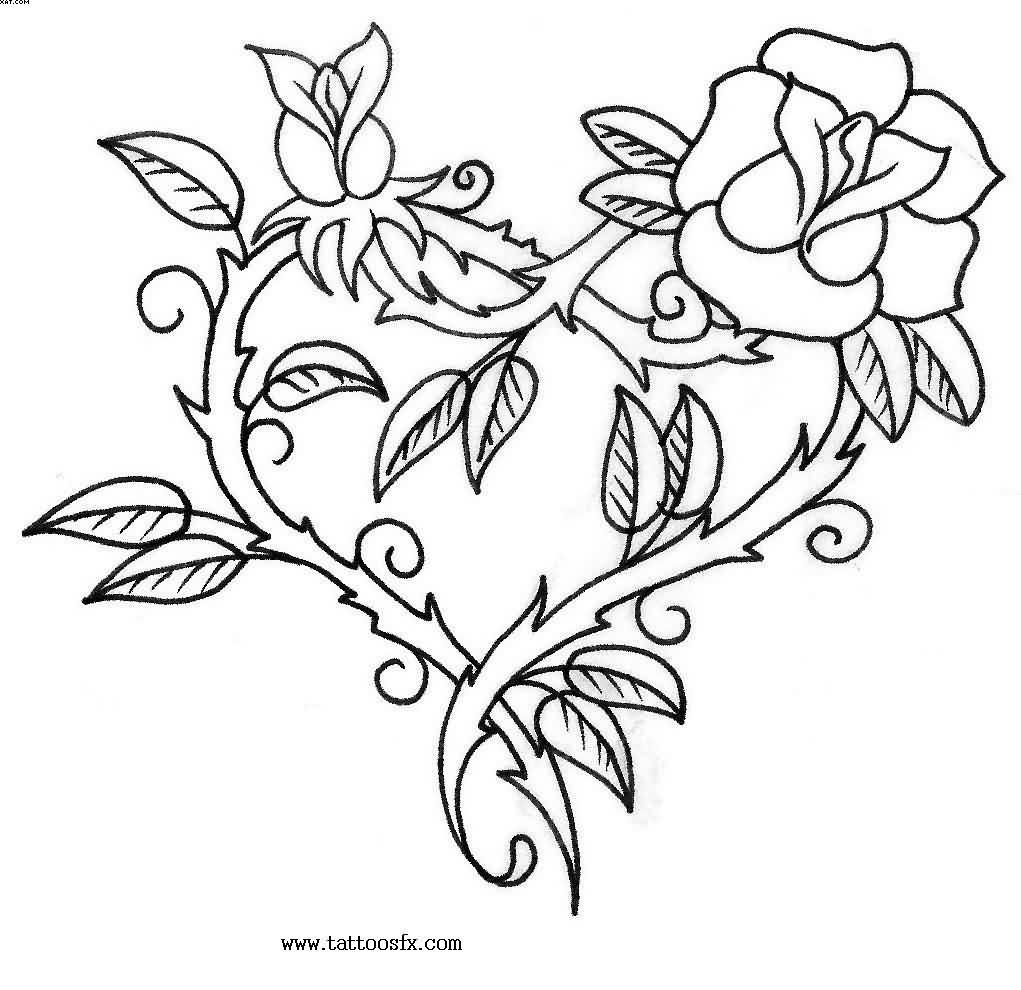 Rose Vine Heart Tattoo Design