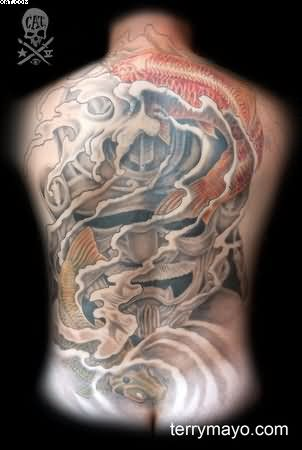 Samurai Warrior And Koi Tattoos For Back
