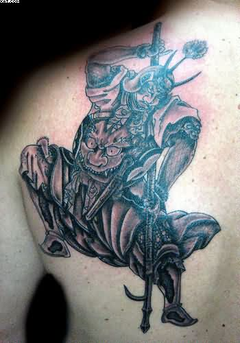 Samurai Warrior Back Shoulder Tattoo For Men